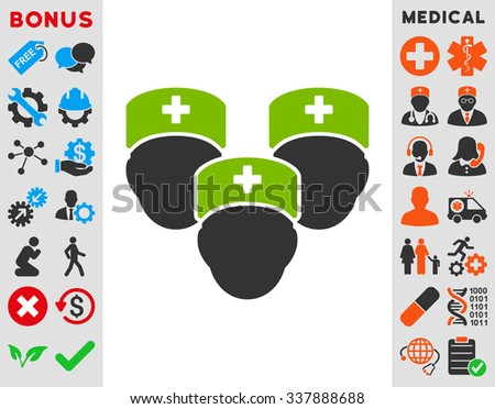 Medical Staff vector icon with bonus. Style is bicolor flat symbol, eco green and gray colors, rounded angles, white background.