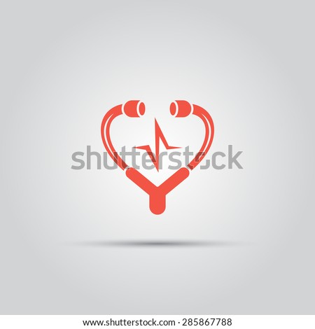 medical stethoscope in form of heart isolated vector colored icon - stock vector