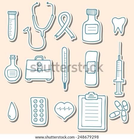 Medical sticker icons. Vector illustration - stock vector
