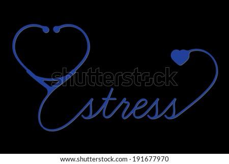 Medical stress symbol, cardiogram,  vector - stock vector