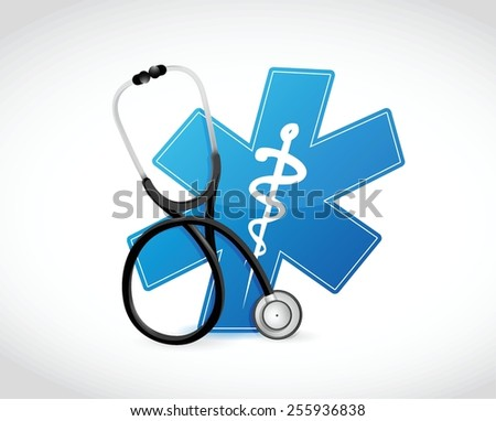 medical symbol and stethoscope illustration design over a white background - stock vector