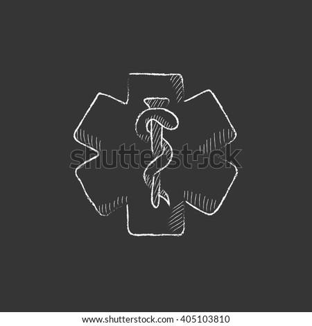 Medical symbol. Drawn in chalk icon. - stock vector