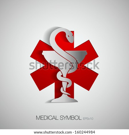 Medical symbol (emblem for drugstore or medicine, medical sign, symbol of pharmacy, pharmacy snake symbol)