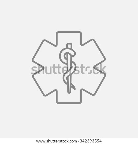 Medical symbol line icon for web, mobile and infographics. Vector dark grey icon isolated on light grey background. - stock vector