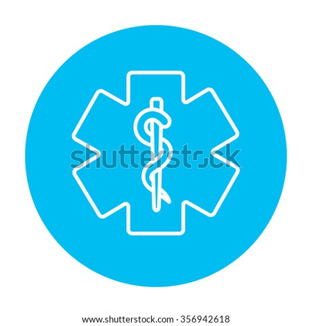 Medical symbol line icon for web, mobile and infographics. Vector white icon on the light blue circle isolated on white background. - stock vector