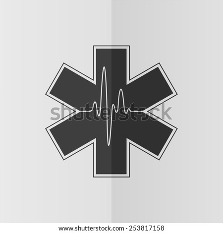 Medical symbol of Emergency - life star vector icon. Effect of folded paper. Flat design - stock vector