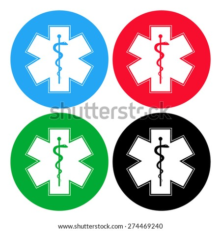 Medical symbol of the Emergency. Star of Life. icon isolated. - stock vector