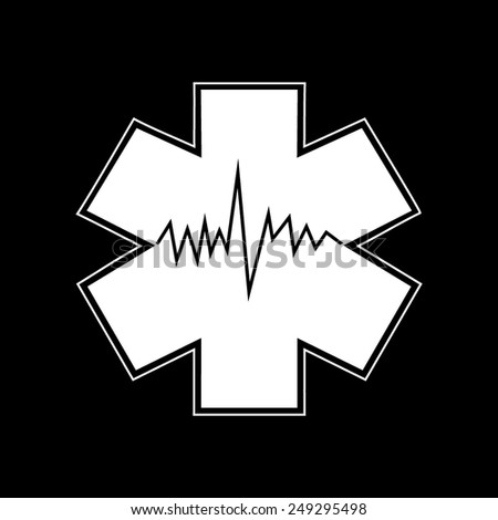 Medical symbol of the Emergency - Star of Life - icon isolated  on a black background - stock vector