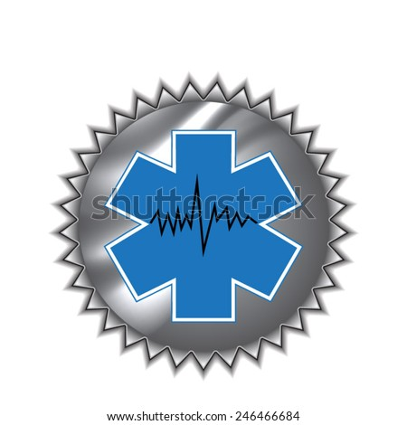 Medical symbol of the Emergency - Star of Life - icon isolated  on round sticker - stock vector