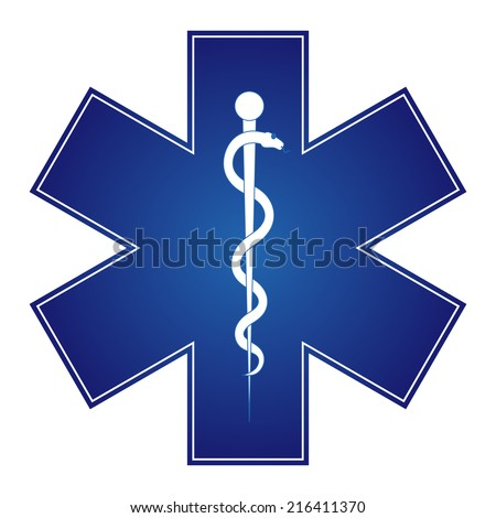 Medical symbol of the Emergency - Star of Life - icon isolated on white background - stock vector
