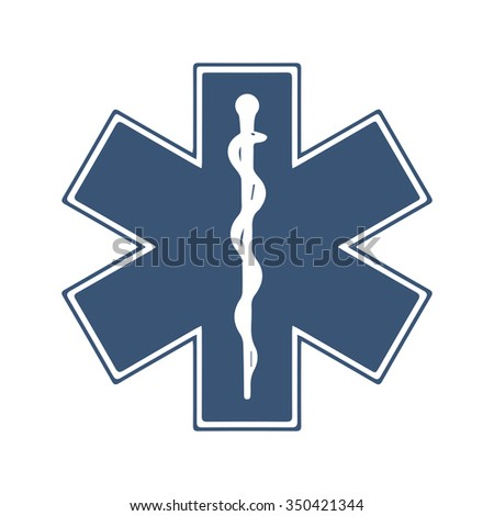 Medical symbol of the Emergency. Star of Life. Isolated vector Illustration. Blue on White background. EPS Illustration. - stock vector