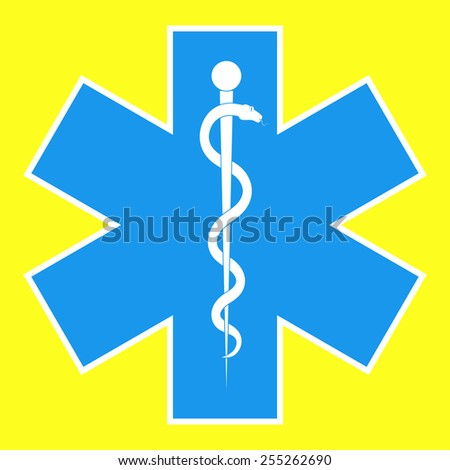 Medical symbol of the Emergency - Star of Life. The illustration on yellow background.  - stock vector