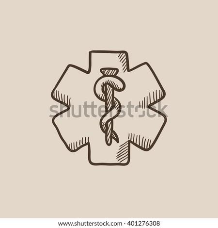 Medical symbol sketch icon. - stock vector