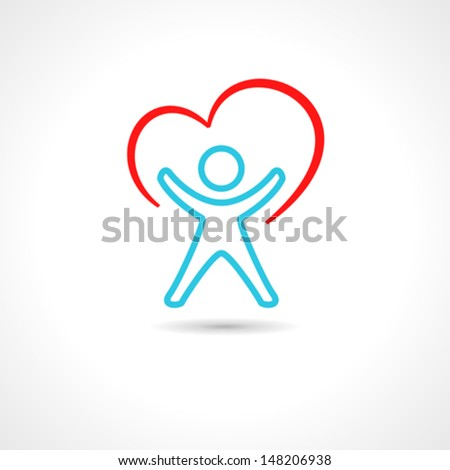 Medical symbol with heart shape and stylized human drawing. - stock vector