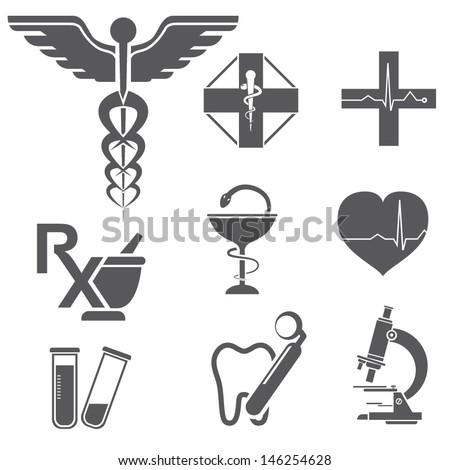 medical symbols, icons, medicine, pharmacy symbols - stock vector