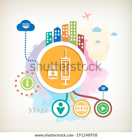 Medical syringe with vaccine and city on abstract colorful watercolor background with different icon and elements. Design for the web, print, banner, advertising.