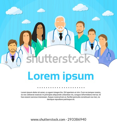 Medical Team Doctor Group Flat Profile Icon Vector Illustration - stock vector