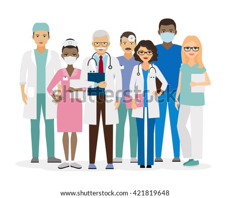 Medical team. Group of hospital workers vector illustration - stock vector
