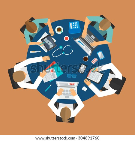 Medical team meeting around table in hospital, top view, vector illustration. Group of doctors discussing something - stock vector