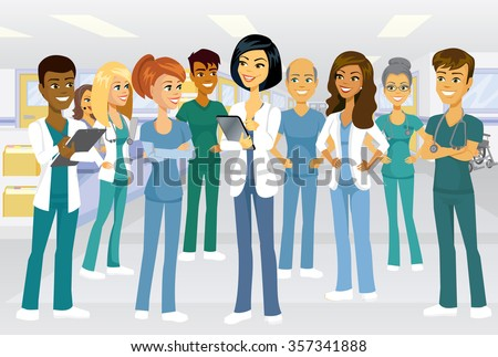 Medical team of doctors and nurses meeting in a hospital setting for lesson, rounds or planning. Male and female characters of many ethnic backgrounds. - stock vector
