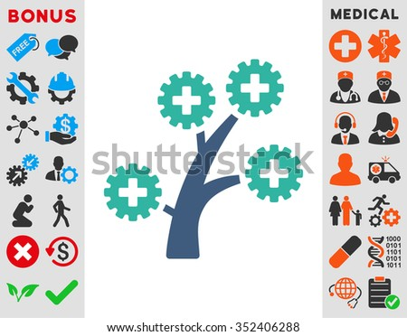 Medical Technology Tree vector icon. Style is bicolor flat symbol, cobalt and cyan colors, rounded angles, white background.