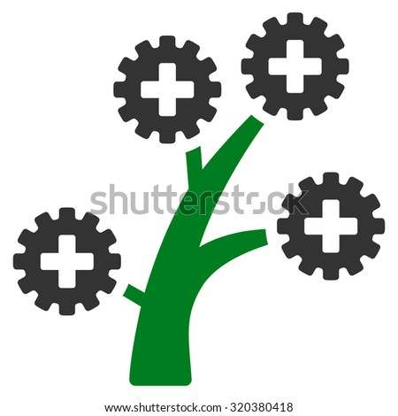 Medical Technology Tree vector icon. Style is bicolor flat symbol, green and gray colors, rounded angles, white background. - stock vector