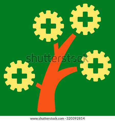 Medical Technology Tree vector icon. Style is bicolor flat symbol, orange and yellow colors, rounded angles, green background. - stock vector