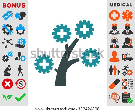 Medical Technology Tree vector icon. Style is bicolor flat symbol, soft blue colors, rounded angles, white background.