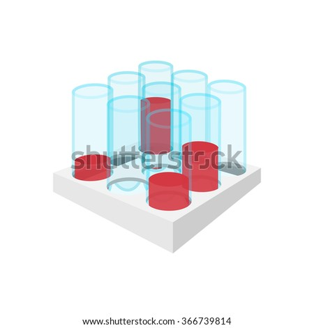 Medical test tubes with blood in holder cartoon icon on a white background - stock vector