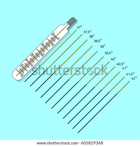 Medical thermometer icon with With different temperature scales. Modern flat icon. Web site page and mobile app design element. Vector illustration.