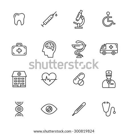 Medical thin line icons - stock vector