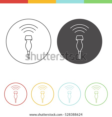 Medical ultrasound icon - phased array transducer. Thin line vector pictograms of sonography in different colors