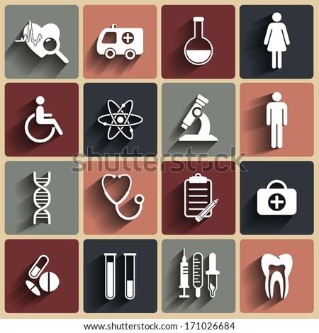 Medical vector flat icons set  - stock vector