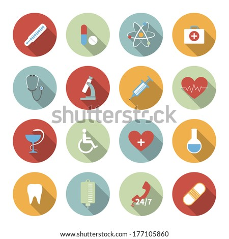 Medical vector flat icons set - stock vector