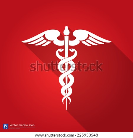 Medical vector icon ,Caduceus sign with shadow red background - stock vector