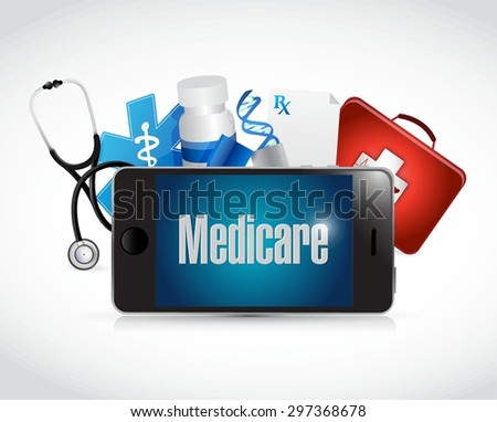 Medicare medical technology sign illustration design over white - stock vector