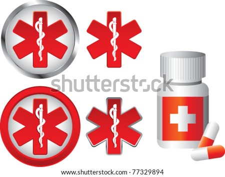 Medication bottle and caduceus symbols - stock vector