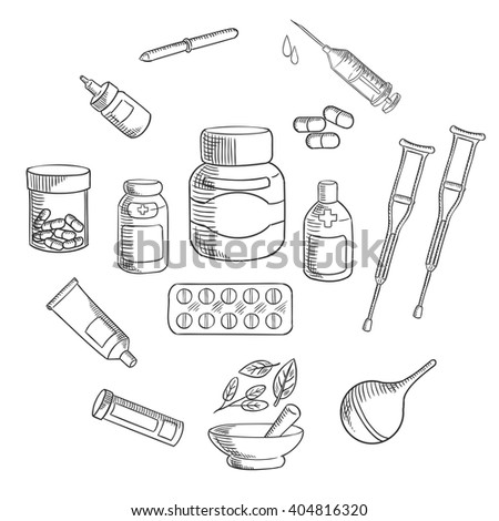 Medication bottles sketch icon, surrounded by pills, capsules, syringe, drops, pipette, ointment tube, enema, forearm crutches and apothecary mortar and pestle with healing herbs - stock vector