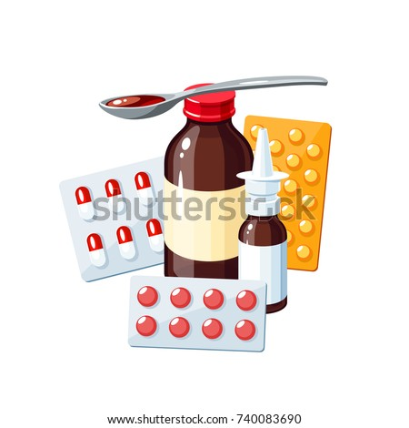 Medication for sore throat, flu, runny nose, influenza, cough: medicine syrup, nasal spray, pills, capsules, drugs. Vector illustration cartoon icon poster on white.