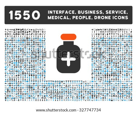 Medication Vial and other web interface, business tools, people poses, medical service vector icons. Style is flat symbols, bicolored, rounded angles, white background. - stock vector