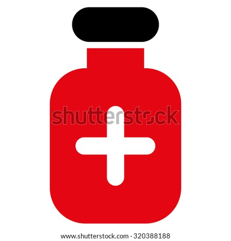 Medication Vial vector icon. Style is bicolor flat symbol, intensive red and black colors, rounded angles, white background. - stock vector