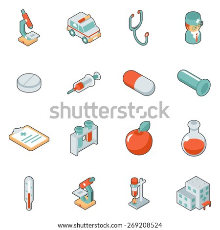 Medicine and health care isometric 3d icons. Symbol medical set, hospital and emergency, vector illustration - stock vector
