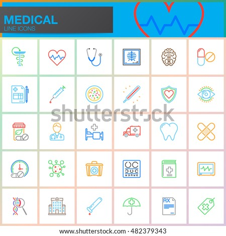 Medicine and Health line icons set, Medical outline vector symbol collection, linear colorful pictogram pack isolated on white, logo illustration