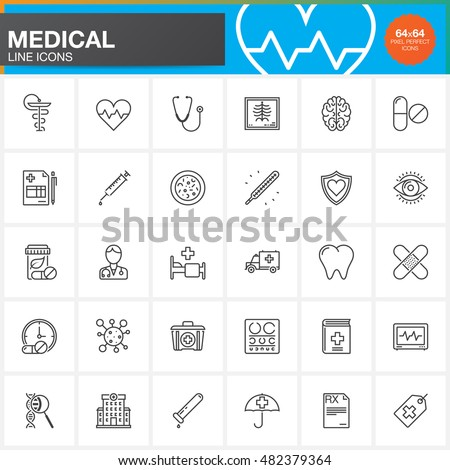 Medicine and Health line icons set, Medical outline vector symbol collection, linear pictogram pack isolated on white, logo illustration