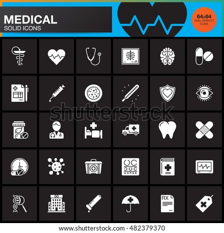 Medicine and Health vector icons set, Medical modern solid symbol collection, pictogram pack isolated on black, logo illustration