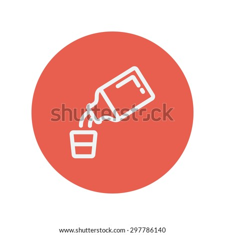 Medicine and measuring cup thin line icon for web and mobile minimalistic flat design. Vector white icon inside the red circle. - stock vector