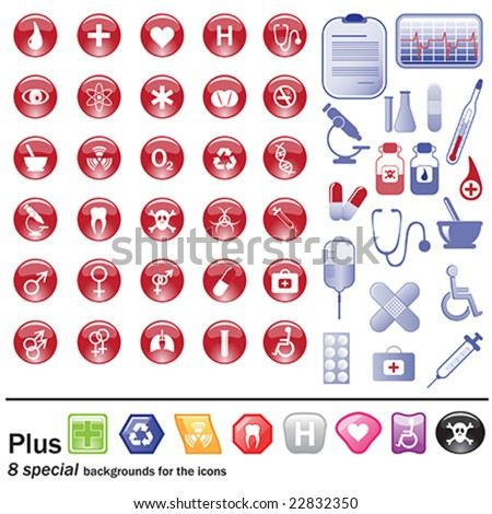 Medicine and pharmacy - symbols and icons - stock vector