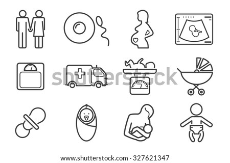 Medicine and pregnancy vector line icons set. Baby and weighing, scales and uzi, health medical and care child, mother birth illustration
