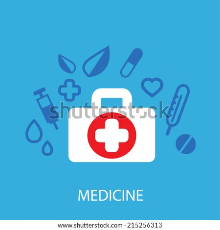 Medicine background.l,health,healthcare,thermometer,pills vector illustration
