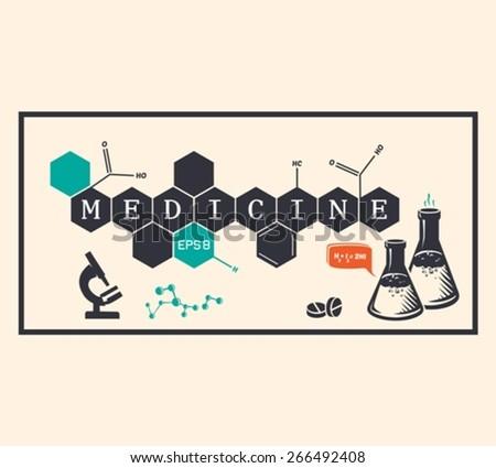 Medicine background, medicine inscription. Vector illustration - stock vector